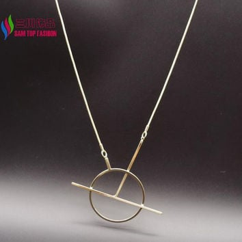 copper open circle geo stick snake chain pendant necklace