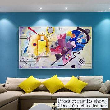 Abstract Canvas Painting large posters Wall Art Pictures Mondrian Red yellow blue Decorative Posters And Prints for Living Room