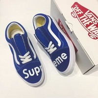 Best Deal Online Supreme Vans Old Skool Blue White Low Top Men Flats Shoes Canvas Sneakers Women Sport Shoes