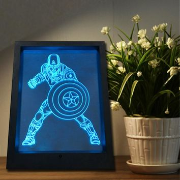 2018 Novelty Multi-color Color Changing 3D Night Light Picture Frame Table Lamp Captain America w/ Remote Controller