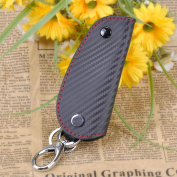 3D Leather Carbon Fiber Remote Key Case chain keyless Fob cover Holder For Audi BMW Volkswagen Porsche Honda Toyota Mazda Lexus