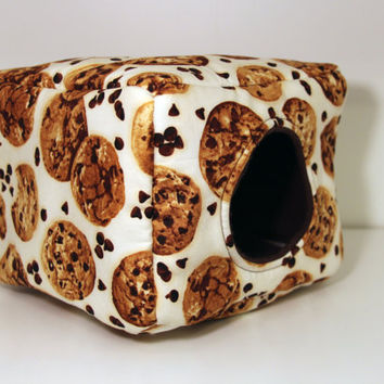 Guinea Pig Snuggle Cube, Hedgehog Hidey, Reinforced Rat House, Hedgie Box - Chocolate Chip Cookies and Brown Fleece