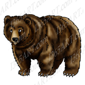 Grizzly Bear Clipart Illustration, Includes Line art & coloring page, Digital Stamp, JPEG PNG Print instant Dowload
