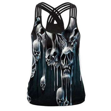 Women Summer Tank Tops Hollow Out Tops 3D Skull Print Camisole Punk Clothing