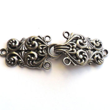 Vintage Tinn-Per Two Piece Buckle 1960s Norway Norwegian Hook Clasp Sewing Notion Silver Tone Pewter