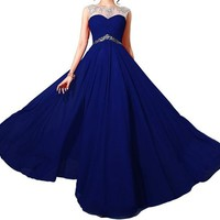 Queenworld Long Chiffon Two Shoulder Appliques Prom Dress