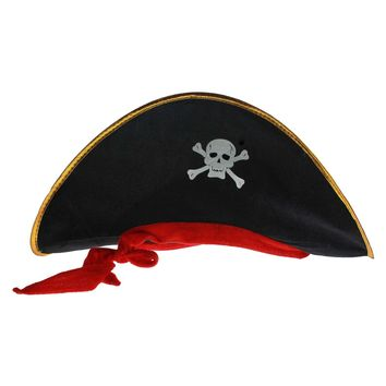 Skull Print Pirate Captain Costume Cap Halloween Masquerade Party Cosplay Hat Prop