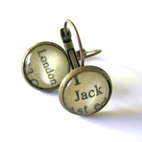 Jack London White Fang Recycled Library Card Author Earrings Patina Brass