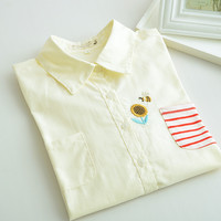 Bee embroidered loose cotton shirt wild