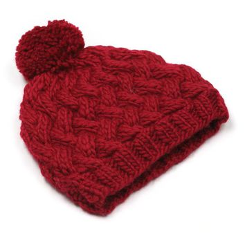 Women Simple Solid Color Wool Hairball Manual Knit Beanie Hat Winter Accessories