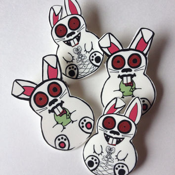 Zombie bunny Easter pin