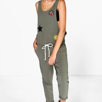 Ava Badge Detail Slouch Dungarees