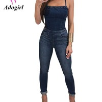 Adogirl 2017 Summer Sexy Fashion Women Denim Jeans Spaghetti Straps Jumpsuits Plus Sizes XXL Lace Up Pocket Skinny Long Rompers