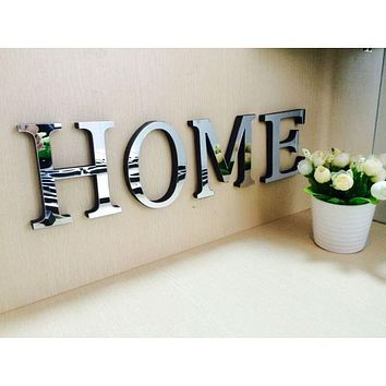 Wedding Love Letters English 3D Mirror Wall Stickers Alphabet Home Decor Logo For Wall Home Decoration Accessories