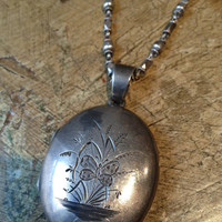 c1900's Lg Victorian Etched Butterfly Sterling Locket - Original Glass Inserts -36 inch Long Vintage Textured Sterling Chain