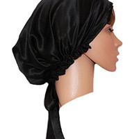 MZMC Womens Satin Pure Silk Soft Bonnet Sleep Cap Black