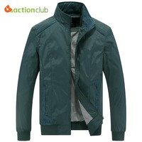 ACTIONCLUB Mens Spring Autumn Jacket Plus Size Casual Coat New Fall Men Fashion Comfortable Spring Style Jacket Collar Outerwear