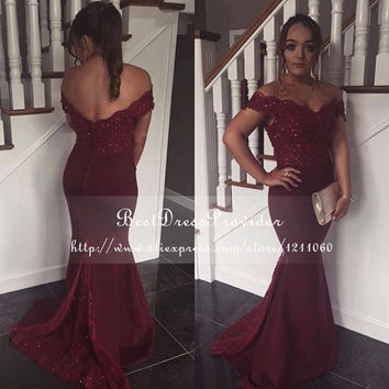 Sexy Long Prom Dresses 2016 Elegant Cap Sleeve Beaded Lace Mermaid Floor Length Burgundy African Prom Dress For Black Girl