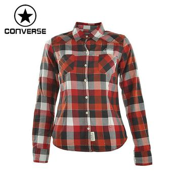 Original Converse Women's Long sleeve Shirts Sportswear plaid - Red or Purple