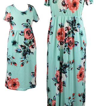 Mommy and Me Maxi Dresses,Bohemia Floral Printed Matching Dresses For Daughter and Mom