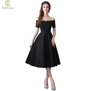 Little Black Evening Dresses Boat Neck Off-the-shoulder Short Sleeved Tea-length Bridal Banquet Formal Prom Dress