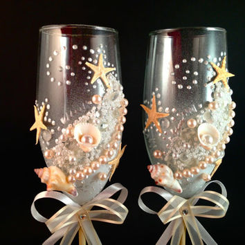 "hand decorated champagne wedding glasses "" Sandy"""