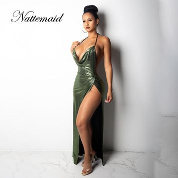 NATTEMAID Sleeveless Backless Halter Bandage Dresses Women Club V Neck Maxi Long Dress Elegant High Split Sexy Party Dress