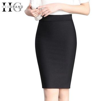 CREY78W HEE GRAND 2017 Elastic High Waist Slim Hips Red Black Formal Saias Feminino Lady OL Office Bodycon Skirts Plus Size WQC515