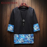 KUANGNAN Blue Waves Printed Streetwear T Shirt Men Fashions Hip Hop Harajuku Black T Shirt Men Clothes Tshirt Men T Shirt 2018