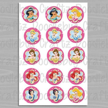"Disney Princess Bottle Cap Images - Birthday Party Favor Tags - Cinderella, Aurora, Snow White, Belle, Ariel - 1"" circles bottlecap"