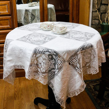 White Linen and Lace Tablecloth, Army Navy Tablecloth & Napkins, Hand Embroidered, Bridge Cloth and Napkins, Filet Lace, 1940s, Vintage