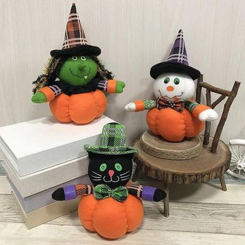 1Pcs Decoration Doll for Christmas Halloween Decor Witch/Black cat/Ghost Pumpkin Shaped Ornament Plush Stuffed Festiva #823 new