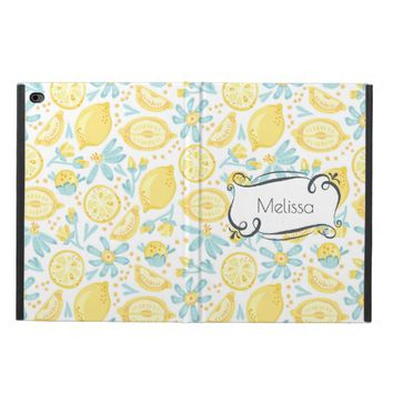 Yellow Lemons & Blue Flowers Illustrated Pattern Powis iPad Air 2 Case