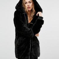 Missguided Hooded Longline Faux Fur Bomber at asos.com
