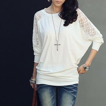 White Chiffon Women Fashion Long Sleeve Round Collar Korean Style Batwing T-Shirt S/M/L/XL FLC3073-8021-15-White-403-3 = 1946927108