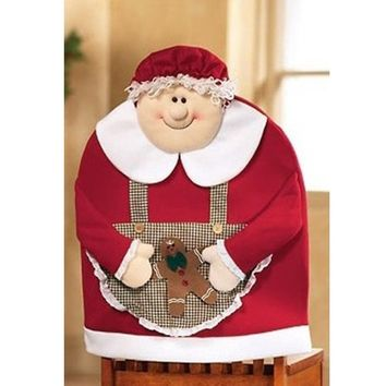 Mrs Santa Claus Christmas Kitchen Dining Table Chair Back Cover Decor