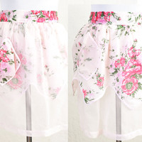1950s Reversible Pink Floral Chiffon Apron Shabby Cottage Chic