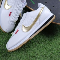 Sale Mister Cartoon x Nike Cortez Basic QS White Gold Sport Running Shoes Sneaker AA4875-004