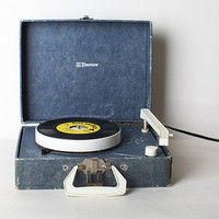 Vintage Blue Suitcase Record Player