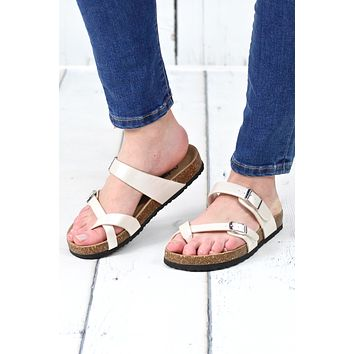 Toe Strap Bork Slide On Sandals Leather Look {Ivory}