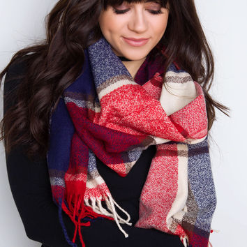 Raleigh Plaid Fringe Scarf