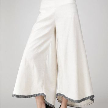 2016 Summer Embroidery Women Cotton Linen Wide Leg Pants Bohemia Skirt Trouser Square Dance Clothing White Coffee Free Shipping