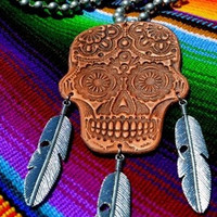 Tequila Calavera Leather Necklace from Crazy Train