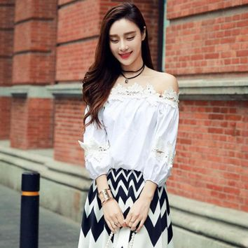DCK9M2 real photo high quality 2016 fashion cute loose patchwork hook flower slash neck off the shoulder SML woman's Casual shirt