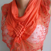 Salmon Pink Elegance Shawl / Scarf with Lacy Edge by womann