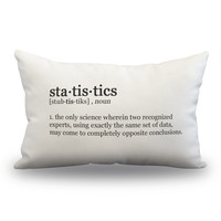 "Statistics Definition Pillow Cover - Off White Color - Zipper Enclosure -12""x18"""