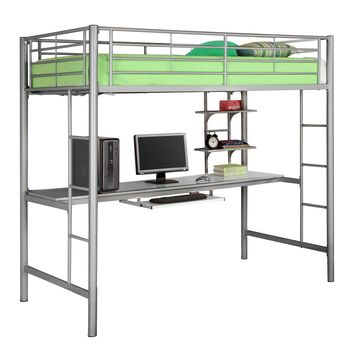Twin Metal Loft Bed with Workstation- Silver