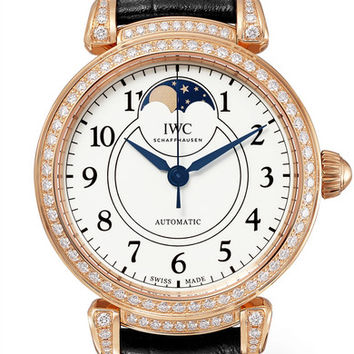 IWC SCHAFFHAUSEN - Da Vinci Automatic Moon Phase 36 alligator, 18-karat red gold and diamond watch
