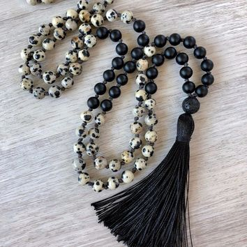 108 Mala Bead Necklace Matte Balck Onyx Necklace Hand Knotted Black Men's Necklaces Prayer Yoga Meditation Mala Necklaces