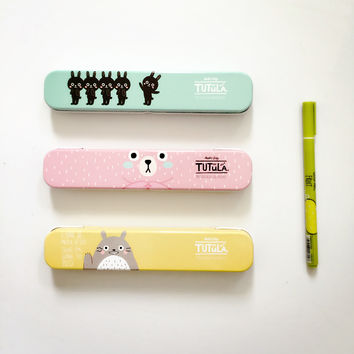 H19 Cute Kawaii Totoro Tutula Bear Metal Tin Pencil Case Pen Box Storage Case Student Stationery School Office Supply